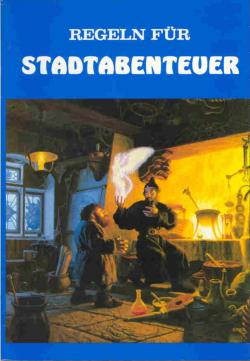 Titelbild des Buches: Ein Magier zeigt mittels Magie einem Zwerg die Illusion einer geflügelten menschlichen Gestalt